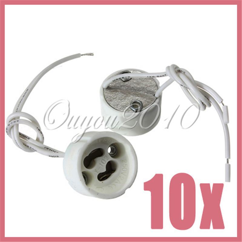 10pcs/lot LED Strip Connector GU10 Socket For Halogen Ceramic Light Holder Base Wire Jack Free Shipping Wholesale(China (Mainland))