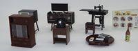 Japan Dollhouse Mini Furniture Set of 6 Radio Drawers Phone Sewing Machines TV