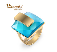 New top quality gold plated square blue soul crystal rhine stone fashion party Valentine's gift finger ring (Viennois VR00068)