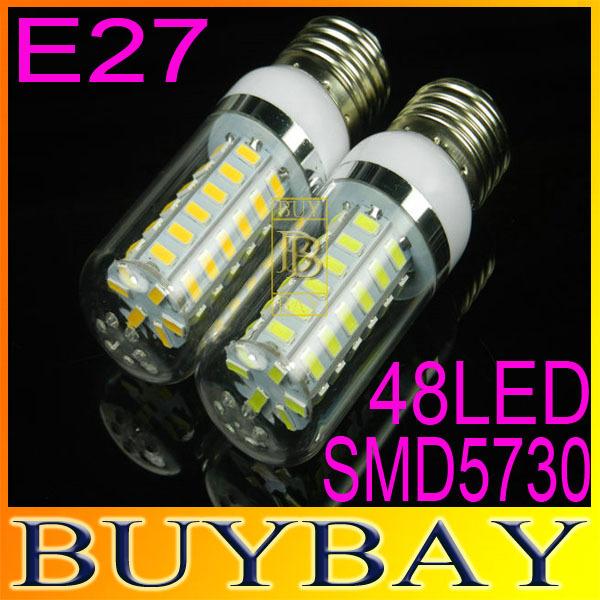 5pcs/lot SMD5730 E27 220V/110V led bulb, E27 48LED 5730 led lamp 15W Warm white /white lamp,5730 SMD led lighting,free shipping(China (Mainland))