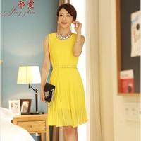 2014 summer women's solid color chiffon gentlewomen slim elegant pleated sleeveless one-piece dress female