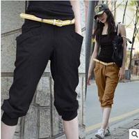 Korean Fashion Plus Size S-5XL Women Summer Capris Cotton OL Harem Pant Elestic Brand Fashion Casual Lady Trousers Slim Pants
