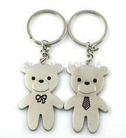 Free shipping 400 Pcs=200pairs/Lot Bear Metal Couple Keychains Zinc Alloy Love Key Chain Key Ring Souvenir wedding favour