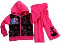 2014 Wholesale Frozen Hoodies Set Frozen Outerwear Children Long Sleeve Hoodies Cartoon Sweatshirts 4T-12T 6Sets/Lot In Stock
