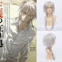Qiyun Psycho-Pass Shogo Makishima Anime Long Silver Whitelong Straight Gray Wig Peluca Perucke Perruque