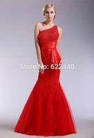 2014 New Arrival Custom-made One Shoulder Applique Floor-Length Long Prom Dress