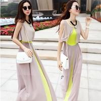 Women Summer Maxi Dress Long Novelty Plus Size Elegant Chiffon 2014 Bohemia Sleeveless Dresses High Street Female Vestidos