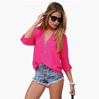 Blusas Femininas 2014 Women's Fashion Sheer Shirts Camisas Femininas Chiffon V-Neck Sheer Blouses Women Clothing Button Blouse