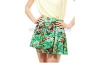 2014 New Fashion Summer women's floral print Skirt Casual mini Short Skirts ruffle skirt