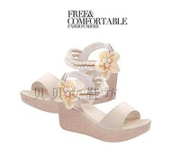 2014 new tide female sandals wedge sweet pearl summer sandals large base sponge cake and flowers for women's shoes