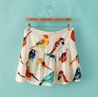 2014 New arrival Fashion Summer women's bird print Skirt vintage mini Short Skirts black and white cute ruffle skirt