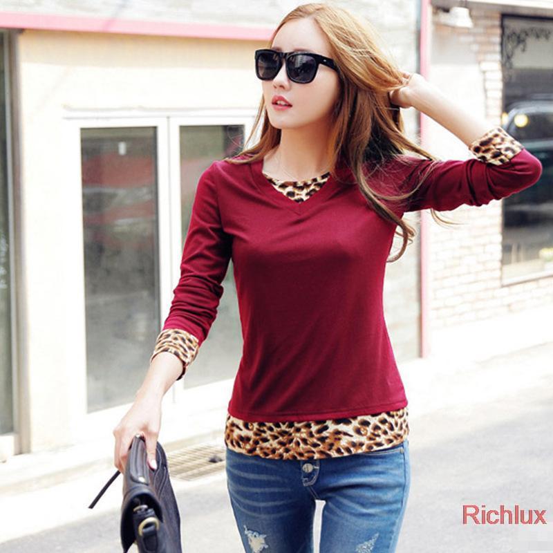 sexy leopardo 2014 quente das mulheres t- camisas manga longa camisas para algodão básico vinho tinto outono senhoras tshirts j1065 cor preta(China (Mainland))