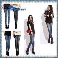 2014 new fashion brand mid waist thin sexy slim snow pockets holes wrinkles design imitation denim jeans leggings pants women