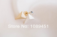 2014 New Arrival Fashion Simple 3d triangle earrings Jewelry Tiny Stud color gold/silver/rose gold 30 pairs/lot Free Shipping