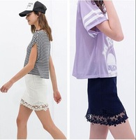 HOT SALE fashion summer 2014 women's sexy pencil skirt embroidery floral lace crochet patchwork skirt women's sexy short skirt