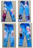 2014 Sale New Frozen Elsa Anna Girl Girls Children Legging Leggings Long Tight Pants Trousers 4 Designs 6pcs/lot Free Shipping