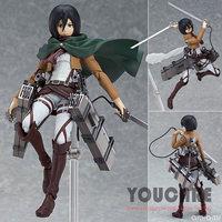 """Anime Attack on Titan Figma 203 Mikasa Ackerman 6"""" PVC Action Figure Collectible Model Toy  2014 new toys Free Shipping"""
