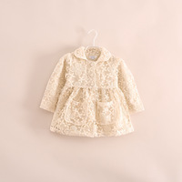2014 hot sale fashion girls princess embroidered flower lace coat jackets outerwear beige pink
