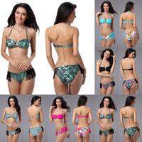 New 2014 Womens Fringe Bikini Set Tassels Bottom Swimsuit Metal V Tops Bra Swimwear Strap Halterneck Beachsuit Printed Bikinis