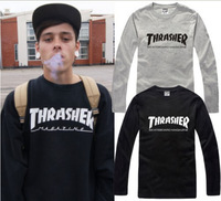 2014 fashion brand thrasher letter printed limited edition long sleeve t-shirt 100% cotton 6 colors chinese size: S-XXXL