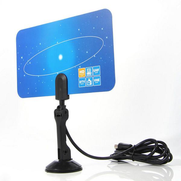 New Items!EU Plug Digital Indoor TV Antenna HD TV VHF UHF Flat Design High Gain 1PC(China (Mainland))