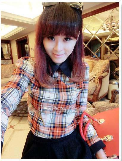 Hot!!! Summer Casual Women's Mixed Colors Turndown Collar Shoulder Pads Plaid Shirt Tops(China (Mainland))