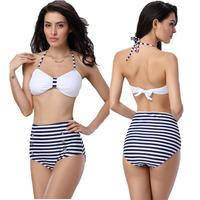 New 2014 Sexy Womens Ladies High Waist Striped Bikini Set Padded Tops Strappy Swimsuit Swimwear Bathing Suit Beachwear SML Free