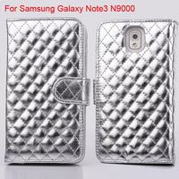 Free Shipping + 3 Card Slot +Stand Flip Grid Leather Case Cover For Samsung Galaxy Note 3 N9000