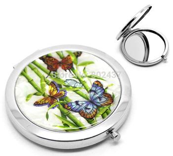 "1PC Бабочка Pattern Make Up Compact Mirror 7.7x7cm(3""x2-3/4"") J00066"