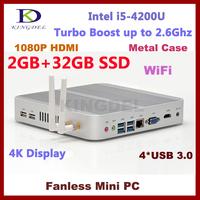 4GB RAM+64GB SSD Desktop pc nettop computer Intel i5 CPU dual core quad thread 3D game,wifi, 4*USB 3.0 ports fanless,metal case