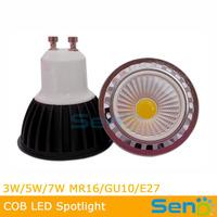 60Degree 3W 5W COB led spotlight GU10/E27 High CRI>80 output 100lm/watt black/silver/white/chrome shell color 10pcs/lot