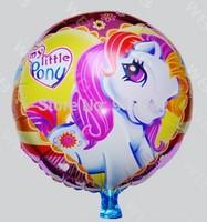 50 pcs/lot Pony Foil Balloon Birthday Party Decoration Cartoon Ballons Hot Sale 18 inch Round shape