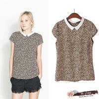 Free shipping 2014 new in women leopard short sleeve blouse