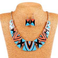 Qiyun Blue Orange Vintage Style Retro Blue Orange Tribal Geometric Bib Choker Necklace Earring Set Collar Halskette Collier