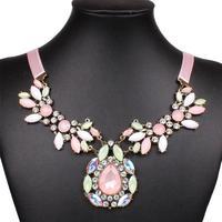 Qiyun Pink Girl's Sweet Pink Flower Bib Oval Pendant Ribbon Collar Choker Necklace Collar Halskette Collier