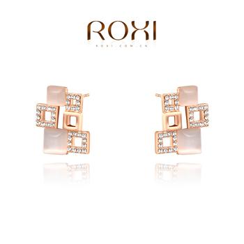 Roxi шикарные женские серьги ручной-пусеты работы, изготовлены из розового золота (позолота), с трех разовым золотым напылением, серьги в форме шести квадратов, украшены австрийским кристаллом,длина 2.1см
