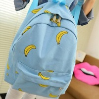Free Shipping Fashion Ice Cream Canvas Banana Women  School Bag Small Printed Backpack