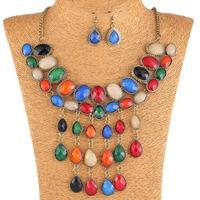 Qiyun Colorful Handmade Vintage Acrylic Chunky Bead Teardrop Pendant Collar Necklace Earrings Collar Halskette Collier