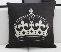 CU035 Crative England  black queen& crown printed linen car home ornament pillow case cushion cover  promotion wholesale