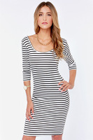 HD239 New 2014 sunner woman clothing dresses round neck white black stripes sheath bodycon half-sleeve knee-length Plus size XXL