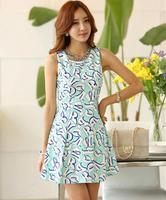 2014 New Arrival Summer Brand Women Sleeveless O-neck Letter Print Dresses Cute Ladies Dress Clothing Casual Dress