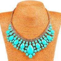 Qiyun Blue Blue Oval Square Bead Beaded Bib Choker Collar Bling Rhinestone Necklace Collar Halskette Collier
