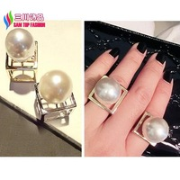 2014 new fashion Punk gold silver alloy Square Cube Big faux Pearl Designer finger ring for women bagues ensemble bijoux anillos
