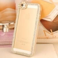 For Apple for iphone 5S Mobile case Crystal diamond bow  diamond border bumper