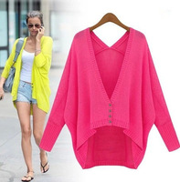 Candy colored cardigan tricotado sweaters 2014 women fashion casual jumper batwing sleeve loose knitted Sweaters free shipping
