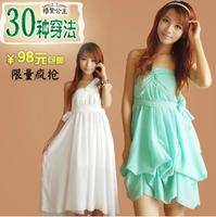 Summer New Beautiful Women's Irregular Chiffon Dress Female Sleeveless V-neck Solid Green White Vestidos Free Shipping