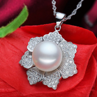 Luxury Natural Pearl Pendants Big Pearl Pendant 12-13mm Pearl 925 Sterling Silver Chain Pendant Flowers Pendant Women's Gifts