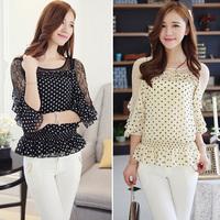 Printed Lace Polka Dot Chiffon Blouses women Ladies Feminina Female Summer Shirts shirt Tops Blusas De Renda camisa Roupas