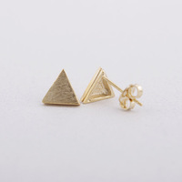 New coming ladies vintage Triangle stud Earrings Tiny Stud three colors gold/silver/rose gold 1 pairs/lot