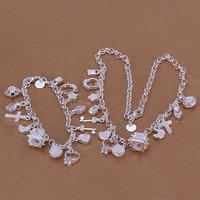 2014 New  925 silver jewelry set Pendants necklace+bracelet Two-Piece Jewelry Set wedding party lovers fashion jewelry gift hot
